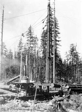 Logging by head lead method, Lake Cowichan