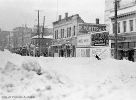 Douglas between Pandora Avenue and Johnson Street, west side, during the 'Great snow'