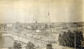 View from the top of the Parliament Buildings, showing inner harbour and Empress Hotel under cons...