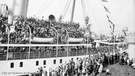 "Canadian Pacific Railway (CPR) ship ""Princess Sophia"" leaving Victoria with troops"