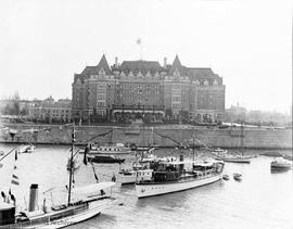 Empress Hotel from the harbour decorated for the visit of the Duke and Duchess of Connaught