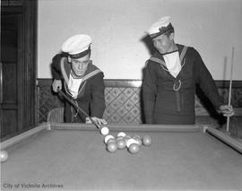 Sailors playing billiards at Prince Robert House