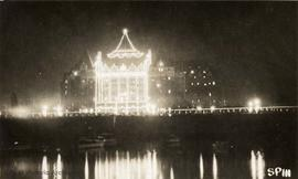 The Empress Hotel from the inner harbour lit up at night