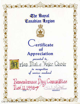 Certificate of appreciation presented to the Arion Male Voice Choir