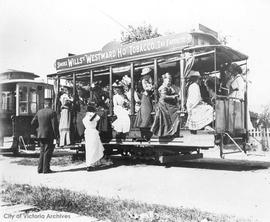 Outer Wharf tram taking ladies on an outing