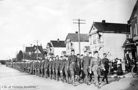 Western Scots, 4th platoon No. 3 Company marching on Vancouver Street
