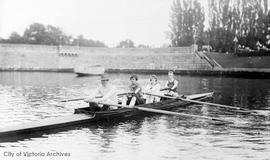 Rowers in Inner Harbour. L to R: Dan O'Sullivan, two unidentified women, C. Orlebar Walls