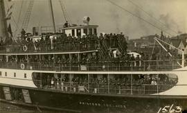 "2nd Canadian Mounted Rifles arriving in Victoria on the ""Princess Adelaide"""
