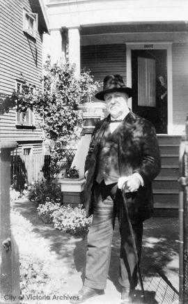 Mr. Robert William Stoddart in front of his home age 86