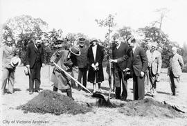 King Prajadhipok of Siam (Thailand) planting tree in Mayor's Grove, Beacon Hill Park