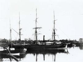 "Barquentine ""Titania"" in Victoria Harbour.  The ""Birdcages"" far left and the residence of William Leigh far right"