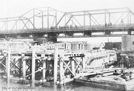 Old Esquimalt & Nanaimo Railway (E&N) Bridge during the Johnson Street Bridge construction