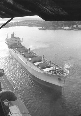 Norbu (ship) from open window of grain elevator, Ogden Point