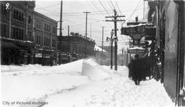 Yates Street west of Douglas Street during the 'Great Snow'