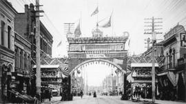Chinese arch erected on Government Street for the visit of Earl Grey