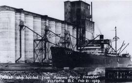 "First ship ""Kofuku Maru"" loaded from the Panama Pacific grain elevator"