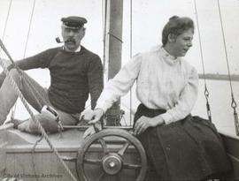 Dorothy Lawrie and an uncle in a sailboat