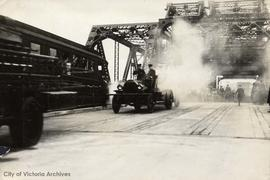 Victoria Fire Department steam pumper on opening day of the Johnson Street Bridge