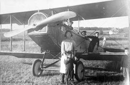 Chan Dun flying school, Lansdowne airfield. Edith Lee by plane