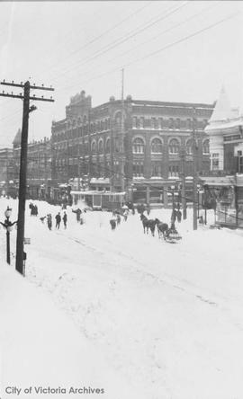 S.W. corner of Yates Street and Douglas Street during the 'Great Snow'