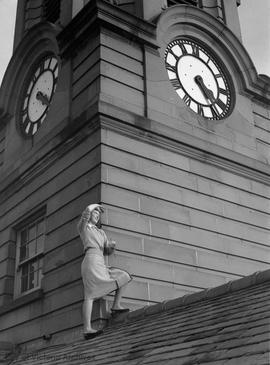 Clock on the Young Building clock tower, Provincial Normal School (now Camosun College)