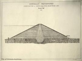 Esquimalt Water Works, cross-section of south dam, upper Goldstream Lake