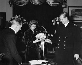 HRH Princess Elizabeth, HRH Prince Philip, and Mayor Percy George at City Hall