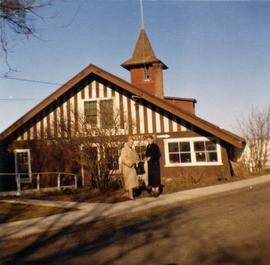 Mary Rattenbury and Helen Myers at the Oak Bay boat house, 1327 Beach Drive