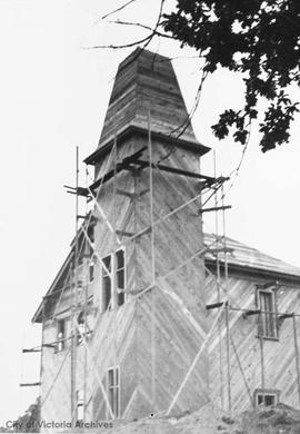 Fernwood Fire Hall (No.6) under construction at the junction of Cedar Hill Road, Fernwood Road an...
