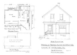 Drawings of proposed alterations & additions to house no 1255 Balmoral Rd. for W.A. Mulcahy