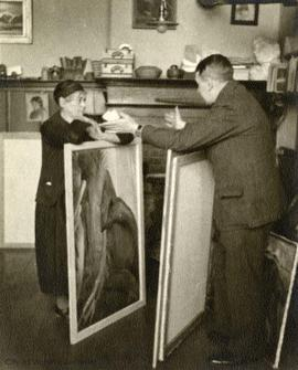 Emily Carr and John Vanderpant in her studio at 646 Simcoe Street
