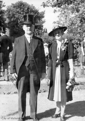 Alderman and Mrs. J.A. Worthington 28 Douglas Street after meeting the King and Queen