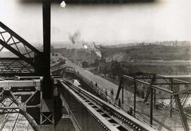 West end of the Esquimalt & Nanaimo Railway (E&N) bridge during Johnson Street Bridge con...