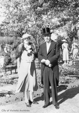 Reeve and Mrs. R.R. Taylor of Oak Bay 28 Douglas Street after meeting the King and Queen