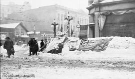 103rd battalion selling war bonds at Fort Street and Douglas Street during the 'Great Snow' of 1916
