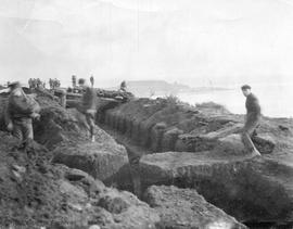 Soldiers digging trenches in Beacon Hill Park