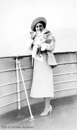 Queen Elizabeth, the Queen Mother, aboard Princess Marguerite