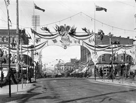 Yates Street looking west.  Street decorated for the visit of the Duke and Duchess of Cornwall an...