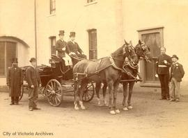 Robert Winter in a carriage outside Cary Castle