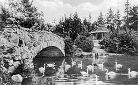 Beacon Hill Park, stone bridge over Goodacre Lake and the bandstand