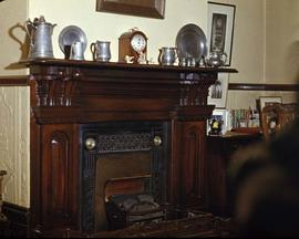 "Dr. Israel W. Powell family residence at 906 Vancouver Street known as ""Oakdene"", dining room fireplace"