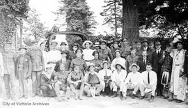 Wounded soldiers from Esquimalt Convalescent Home at Work Point for a cricket match against a women's team
