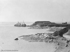 Sternwheeler aground at Clover Point