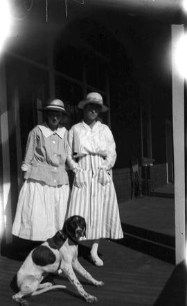 Helen Foreman & Mary Jameson on the veranda of the Strathcona Lodge