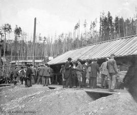 Board of Trade trip to a saw mill, possibly near Crofton, British Columbia