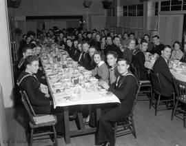 Mess hall dinner with guests