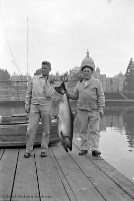 Sgt. White with 63 lb. salmon