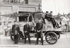 Victoria Fire Department. Early motorized fire apparatus.  Seated far right Capt. Alex Munro (No ...