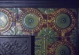 "William H. Bainbridge family home at 1936 Hampshire Road known as ""Jolimont"", fireplace detail original dining room"