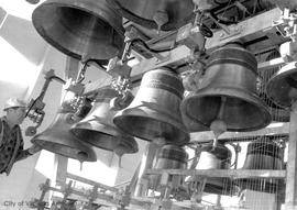 Installing carillon bells in tower at Museum complex